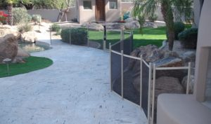 mesh pet pool fence zig zag configuration