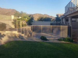 desert sand mesh pool fence on stairs
