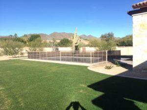 desert sand mesh pool fence straight lines