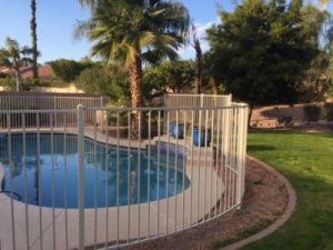 wrought iron pool fence circular configuration