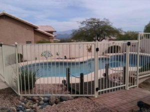 wrought iron pool fence level install