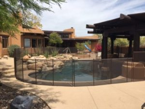 desert bronze mesh fence decking install