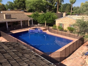 aerial photo of an arizona mesh pool fence install