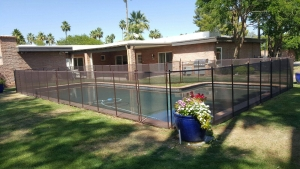 brown mesh pool fence in phoenix