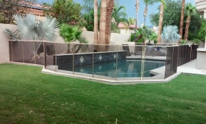 removable mesh fencing for pool area