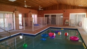 wrought iron fencing for indoor pool area