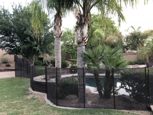 brown mesh pool fence