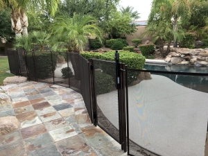mesh pool fence with safety gate