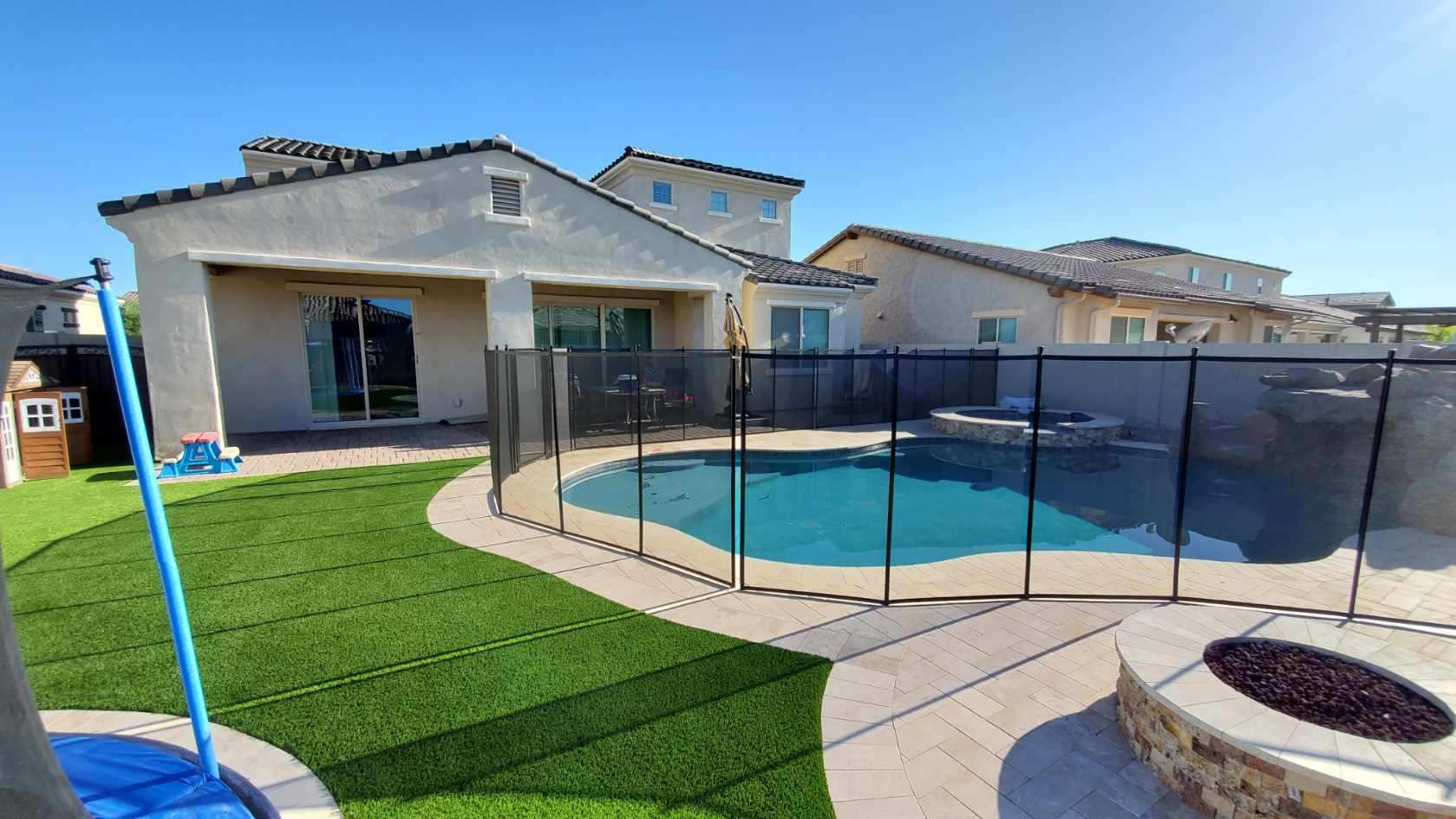mesh fence around pool and spa