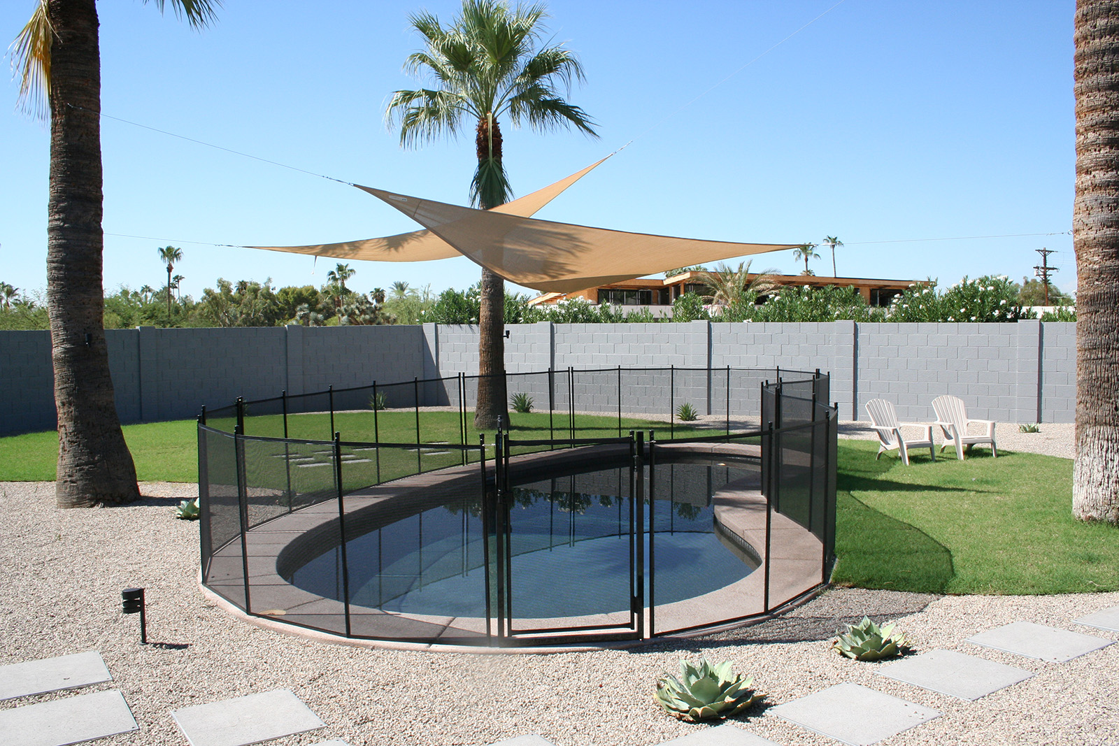 black pool safety fence